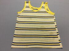 VINTAGE 80S YELLOW STRIPED BEACH SURFER TANK TOP MENS SIZE MEDIUM