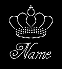 Personalised Custom Iron On Crystal Transfer Set Princess Crown & One Name