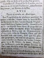 Etats Unis 1791 Vente de Terre Kentucky USA Virginie Pittsburgh Journal de Paris