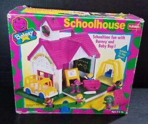Vintage Playskool 1993 Barney and Friends Schoolhouse Playground Play Set W/ Box