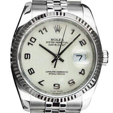 ROLEX Mens DateJust Stainless Steel Ivory Jubilee Arabic Dial 116234 SANT BLANC