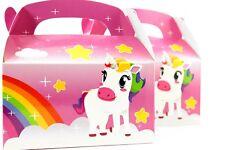 12pk Pink Unicorn Rainbow Birthday Party Gift Treat Boxes Goody Favors Supplies