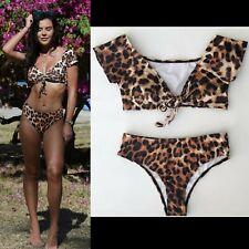 Womens Off Shoulder Bikini Set Bardot Push Up Bath Suit Pool Party Beach Swim UK