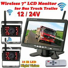 "Wireless Dual Car Reverse Cameras Rear View System + 7"" HD Monitor for RV Truck"