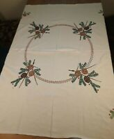 """Vtg Hand Embroidered Tablecloth Pinecones Heavy Linen Fabric 50"""" x 54"""" Christmas"""
