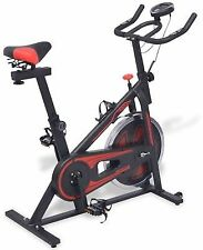 Exercise Spinning Bike with Pulse Sensors Adjustable Seat Black and Red