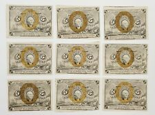 Lot of (9) 1863 Five Cent 5¢ Washington Fractional Notes Uncirculated
