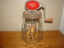 Antique No. 4 Dazey Glass BUTTER CHURN 4 Quart Set RED Football Style Top