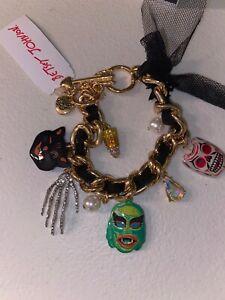 Betsey Johnson Gold Tone Spooky Halloween Charm Bracelet NWT universal monsters