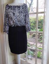 GABBY SKYE 3/4 Sleeved Animal Print Black/White Stretch Dress - UK 12 (US 8)