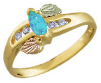 Landstrom's® 10K Black Hills Gold Ring with Diamond and Blue Topaz Size 4 - 10