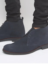 Lambretta carnaby navy suede Desert Leather Ankle Boots 3 Eye Round Toe size 6uk