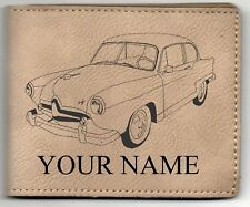 Henry J Coupe Leather Billfold With Drawing & Your Name On It-Nice Quality