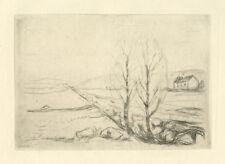 "Edvard Munch original etching ""Norwegian Landscape"""