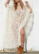 LONG EMBROIDERED LACE KAFTAN KIMONO DRESS ROBE KLEID STICKEREI SPITZE ONE SIZE L