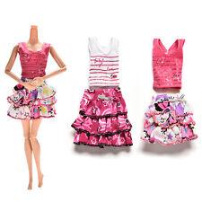 2x/set Skirt Short-sleeved T-shirt for Barbies Kids Doll Clothes Tutu Skirt CAWB