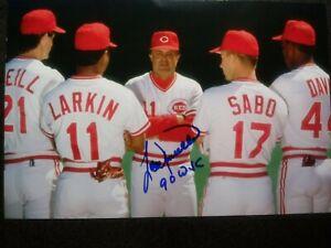 LOU PINIELLA Hand Signed Autograph 4X6 Photo - REDS WORLD SERIES 1990 CHAMPIONS