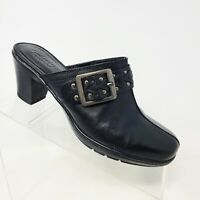 Clarks Bendables Black Leather Clogs Mules Studded Buckle Women's Sz 8 M 83544