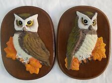 Ceramic Owl on Wood Plaque Wall Art Vintage Retro Hand Painted 3D Set of 2 Owls