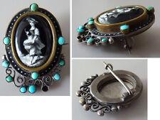 Broche avec Médaillon en porcelaine  + turquoise 19e siècle brooch