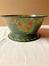 Vintage Hand Painted Metal Toleware Bowl