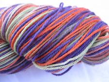 100gm Pure Merino Wool 4 ply Knitting Orange Violet Lime Hand-dyed Yarn 450m