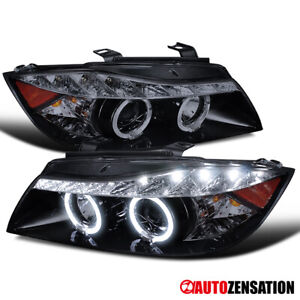 For 06-08 BMW E90 325i 328i 330i 335i Black Smoke LED Halo Projector Headlights