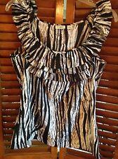 CATO S Small Silky Animal Print Ruffles Sleeveless Blouse Top NWOT