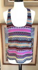 TOP SECRET Beautiful Rainbow Embroidery Tank Top Boho size Small - S