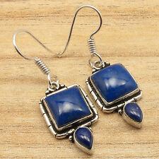 """Lapis Lazuli Gemset Earrings 1.5"""" 925 Silver Plated Collectible Original"""