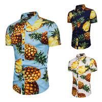 Holiday Hawaii Mens Large Pineapple Print Short Sleeve Casual Shirts Blouse Tops