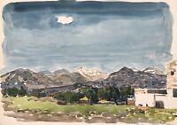 Karl Adser 1912-1995 Insellandschaft Dorf Bauernhof Kreta Griechenland 1972