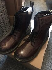 Dr Martens Rose Gold Brown Glitter Boots Size 5