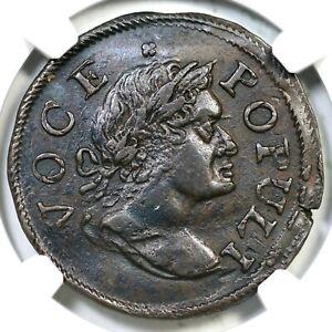 1760 N-9 R-3 NGC AU 53 Dbl Struck Voce Populi Colonial Copper Coin 1/2p