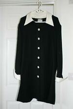 FRANK USHER VINTAGE 80's COAT / DRESS - Black w/White collar and cuffs - Size 16
