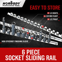 "6PC Socket Holder Sliding Rail Tray Organizer 1/4"" 3/8"" 1/2""Mountable Steel Rack"