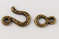 14mm Antique Brass TierraCast Pewter Hammered Hook & Eye Clasp (15 Sets) #CK519