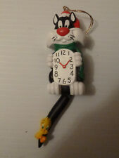 Looney Tunes Sylvester Clock with Tweety Bird on his tail Ornament 1998 WOW!