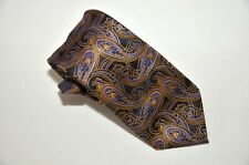 Montebello Men's 100% Silk Satin Tie Paisley Blue/Yellow over Black