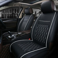 Universal Front Car Seat Covers Cushion Breathable PU Leather Pad Black white AF