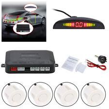 Car Parking Sensors LED Display Car Reverse Backup Kit System 4 Sensors White