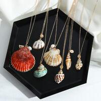 Anhänger Halskette Goldene Farbkette Alloy Cowrie Conch Seesterne Seesterne