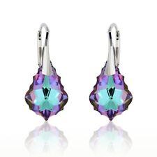 Sterling Silber 925 Ohrringe Ohrhänger mit Swarovski Elements Tropfen mehrfarbig