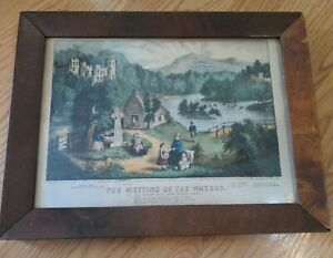 The Meeting of the Waters 1868 Currier & Ives Ireland Print Original Handcolored