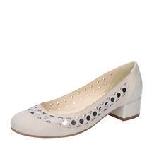 scarpe donna OLGA RUBINI 36 EU ballerine beige camoscio vernice BY344-C