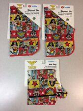 (2) Bumkins DC Comics Waterproof Sleeved Bib Wonder Woman Comic+ Wet Bag 6-24m