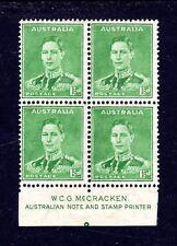 1941 ***MUH*** KGVI 1.5d EMERALD - BLOCK of 4 with McCRACKEN Imprint PLUS PIP.