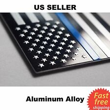 "ALUMINUM Police Officer Thin Blue Line American Flag decal sticker 3.2"" x 1.75"""