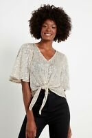 !! NEW IN !! EX F&F F&F Silver Tie Front Sequin Top Size 14