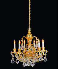1:12 Scale Real Crystal Gold Colour 6 Arm Chandelier Tumdee Dolls House 7001B